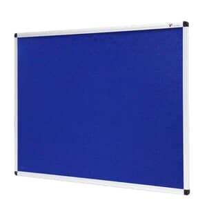 VIZ-PRO Notice Board Felt Blue, Silver Aluminium Frame