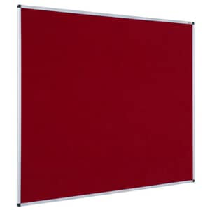 VIZ-PRO Notice Board Felt Burgundy, Silver Aluminium Frame