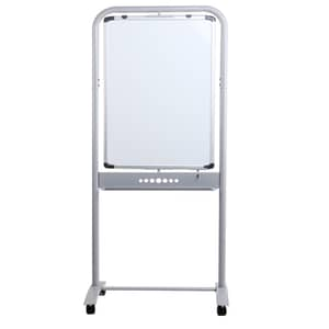 VIZ-PRO Double-sided Magnetic Mobile Whiteboard, Portrait Orientation, Steel Stand