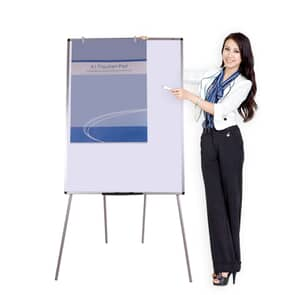 VIZ-PRO Light Weight Porcelain Magnetic Tripod Whiteboard/Flipchart Easel