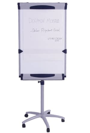 VIZ-PRO Dolphin Magnetic Mobile Whiteboard/Flipchart Easel, 28 X 40 Inches