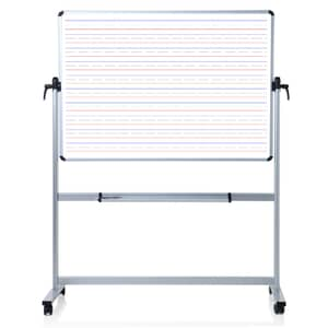 VIZ-PRO Double Sided Magnetic Dry Erase Board/Whiteboard, Penmanship Lines