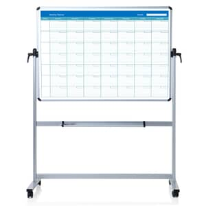 VIZ-PRO Double Sided Magnetic Mobile Whiteboard, Monthly Planner