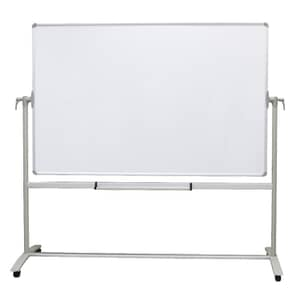 VIZ-PRO Double-sided Magnetic Mobile Whiteboard, Steel Stand