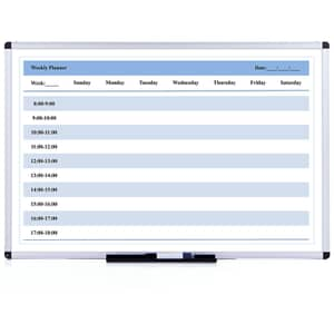 VIZ-PRO Magnetic Dry Erase Weekly Planner, Silver Aluminium Frame