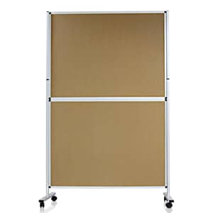 VIZ-PRO Mobile Room Divider/Office Partition, Double-Sided, Whiteboard & Corkboard