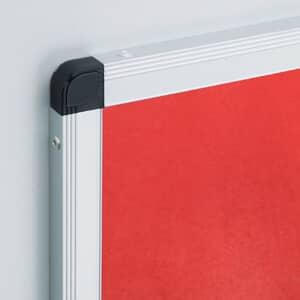 VIZ-PRO Notice Board Felt Red, Silver Aluminium Frame