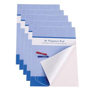 VIZ-PRO Standard Easel Pads, A1 Flipchart Paper Pad, 25-Sheets/Pad, 5-Pads/Pack