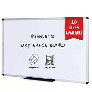 VIZ-PRO Magnetic Dry Erase Board, 36 X 24 Inches, Silver Aluminium Frame