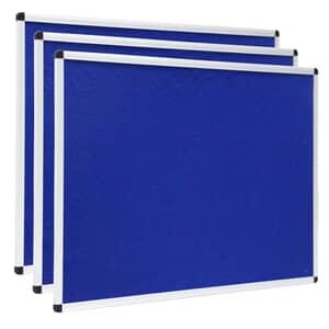 VIZ-PRO Notice Board Felt Blue, 48 X 24 Inches, 3 Pack, Silver Aluminium Frame